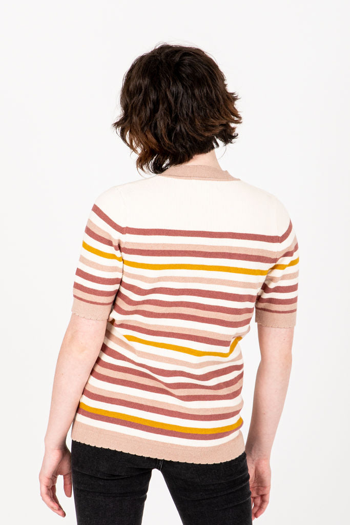 The Mickie Knit Blouse in Rose Multi, studio shoot; back view