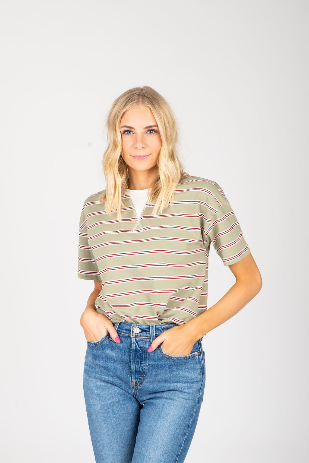 The Joselyn Striped Tee in Sage, studio shoot; front view