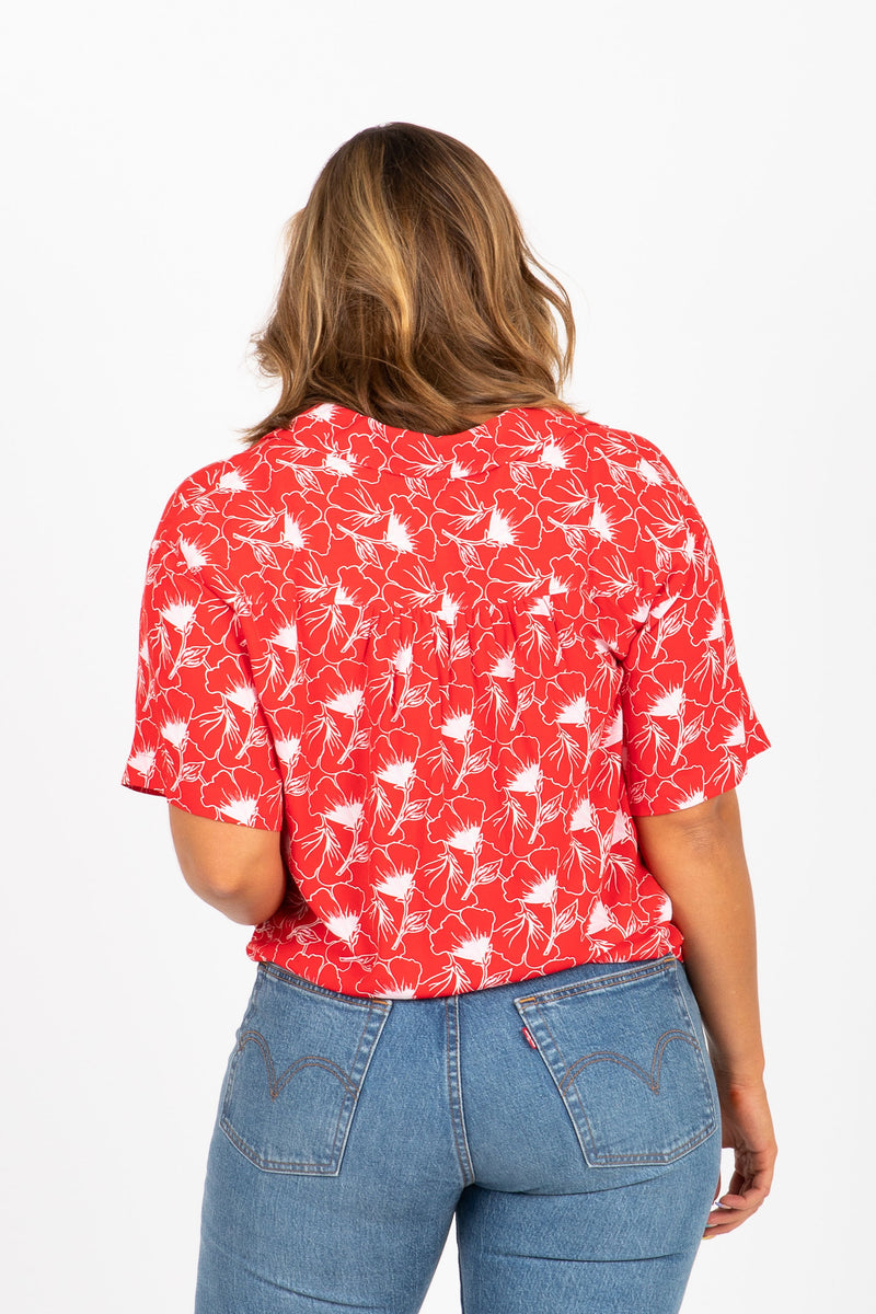 Levi's: Floral Button Up Blouse in Red