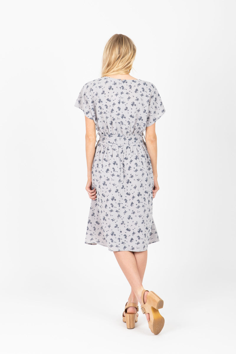 The Cub Patterned Tie Dress in Light Grey