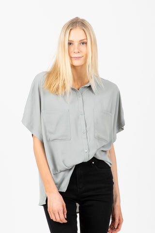 The Silk Button Up Blouse in Midnight