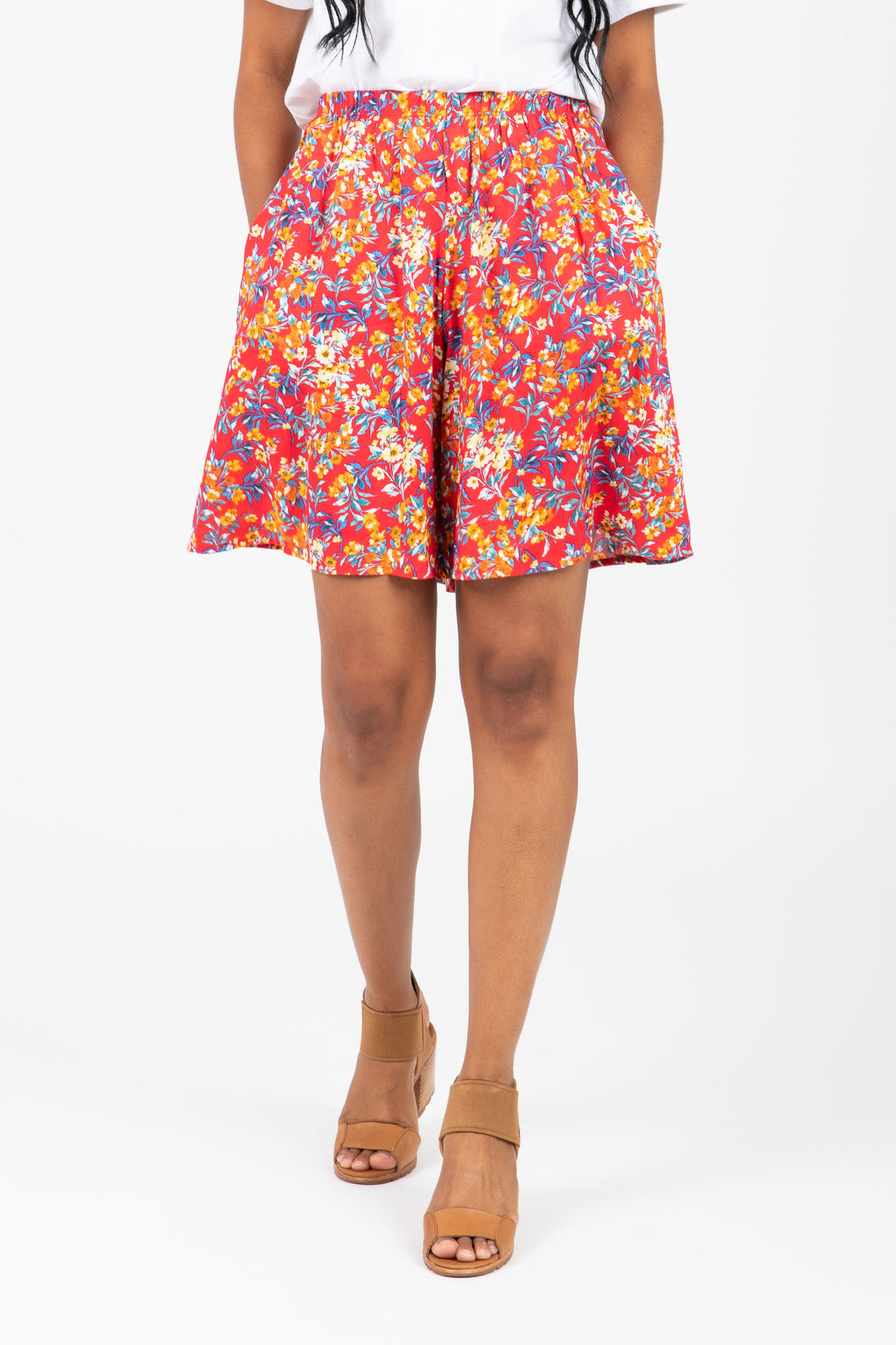 The Kisses Floral Casual Shorts in Red