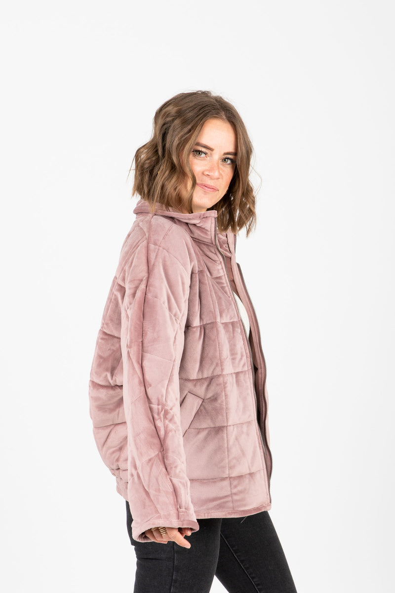 The Downing Puffer Jacket in Lavender, studio shoot; side view