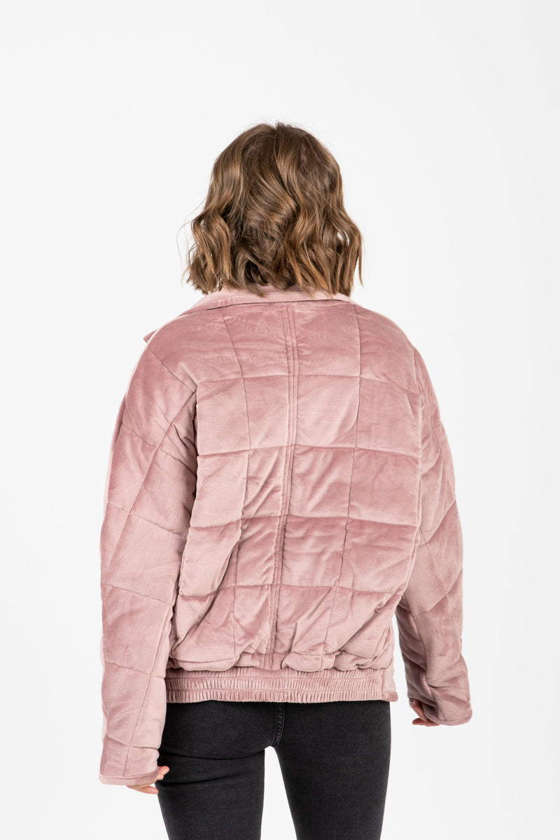 The Downing Puffer Jacket in Lavender, studio shoot; back view