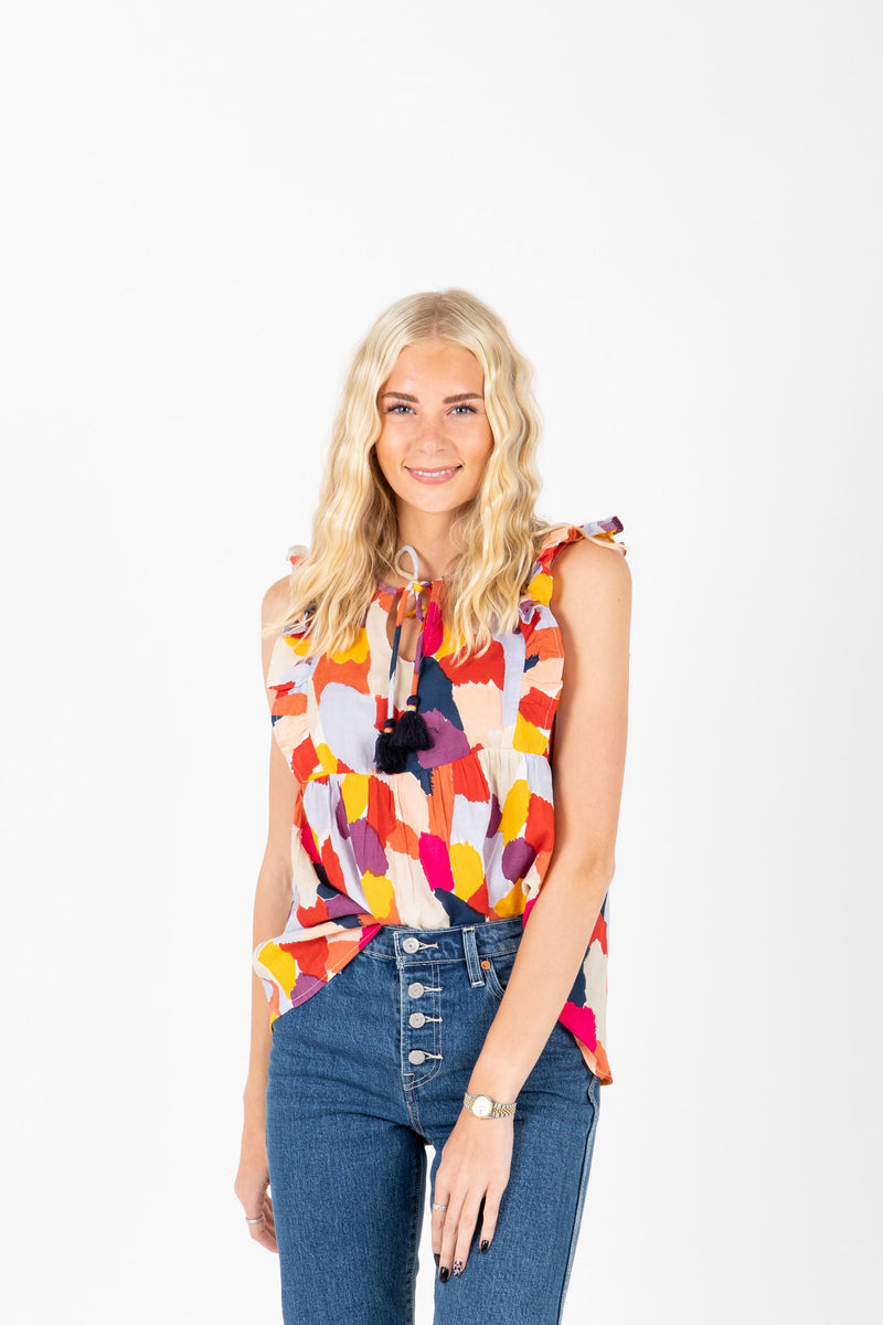 The Tilford Ruffle Tassel Blouse in Multi, studio shoot; front view