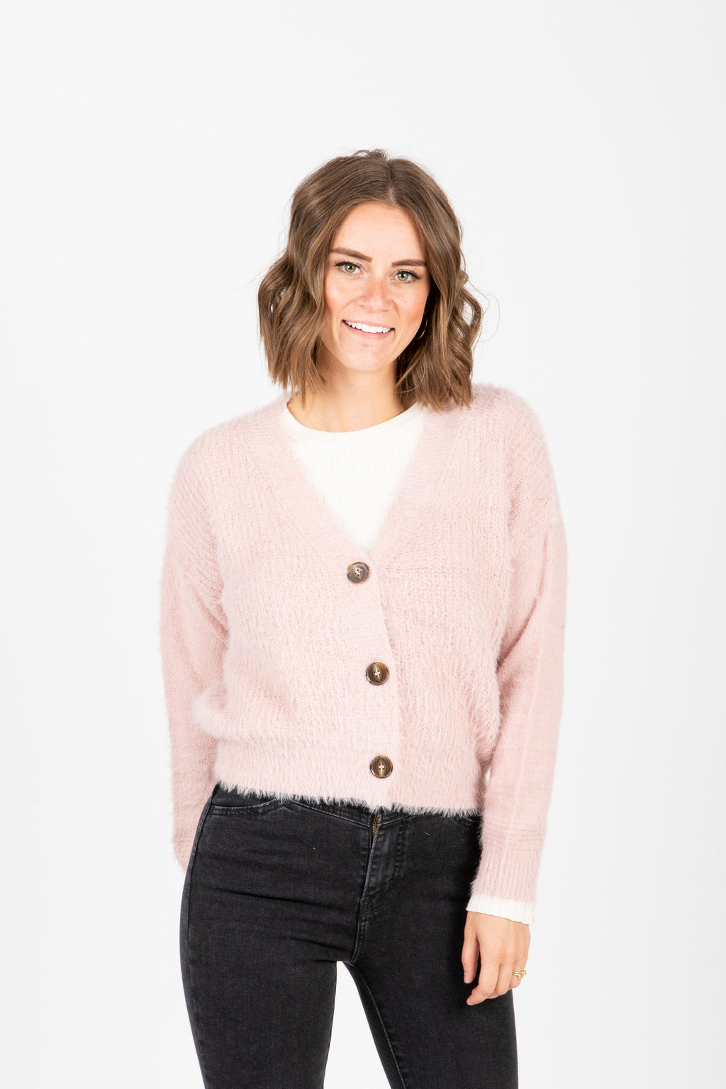 The Yardley Cozy Button Cardigan in Blush, studio shoot; front view