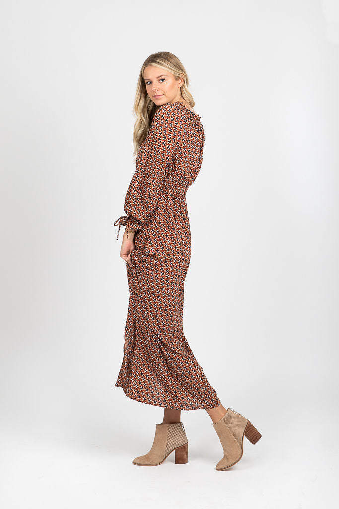 The Presley Patterned Smocked Midi Dress
