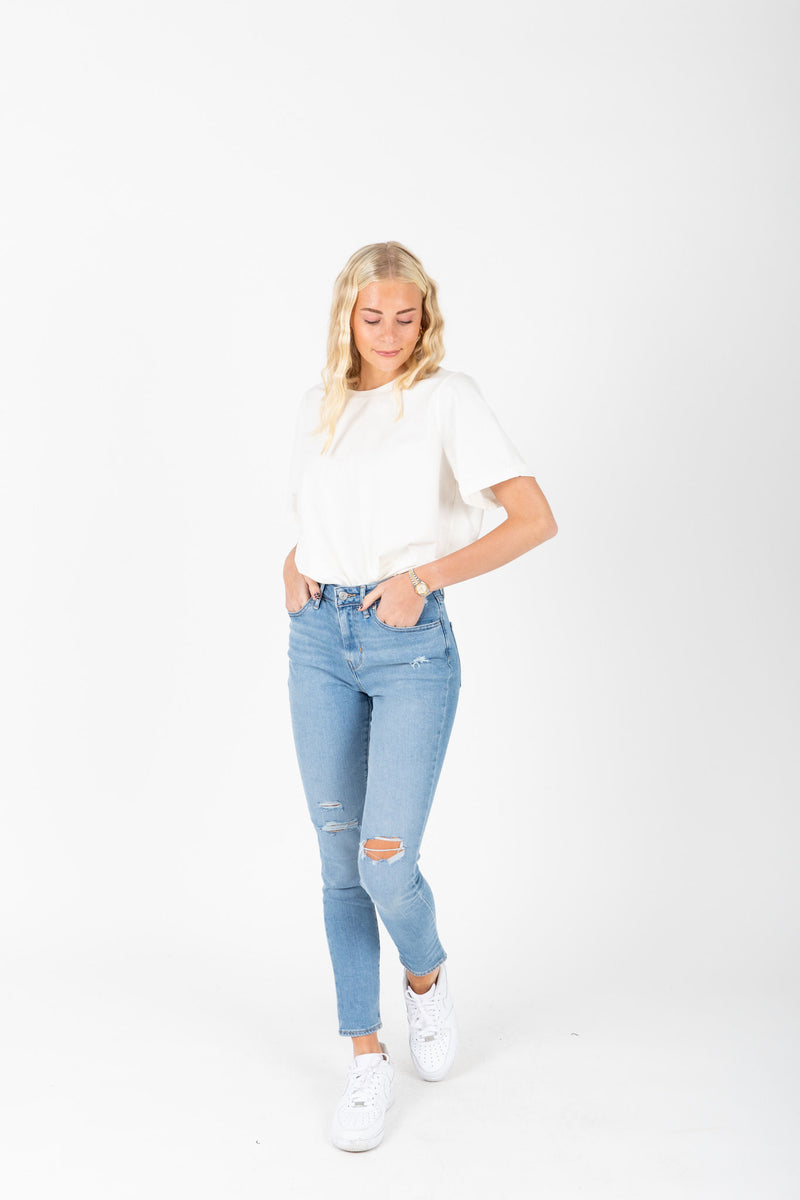 Levi's: 721 High Rise Ankle Skinny Jeans in Soho Azure Glow, studio shoot; front view