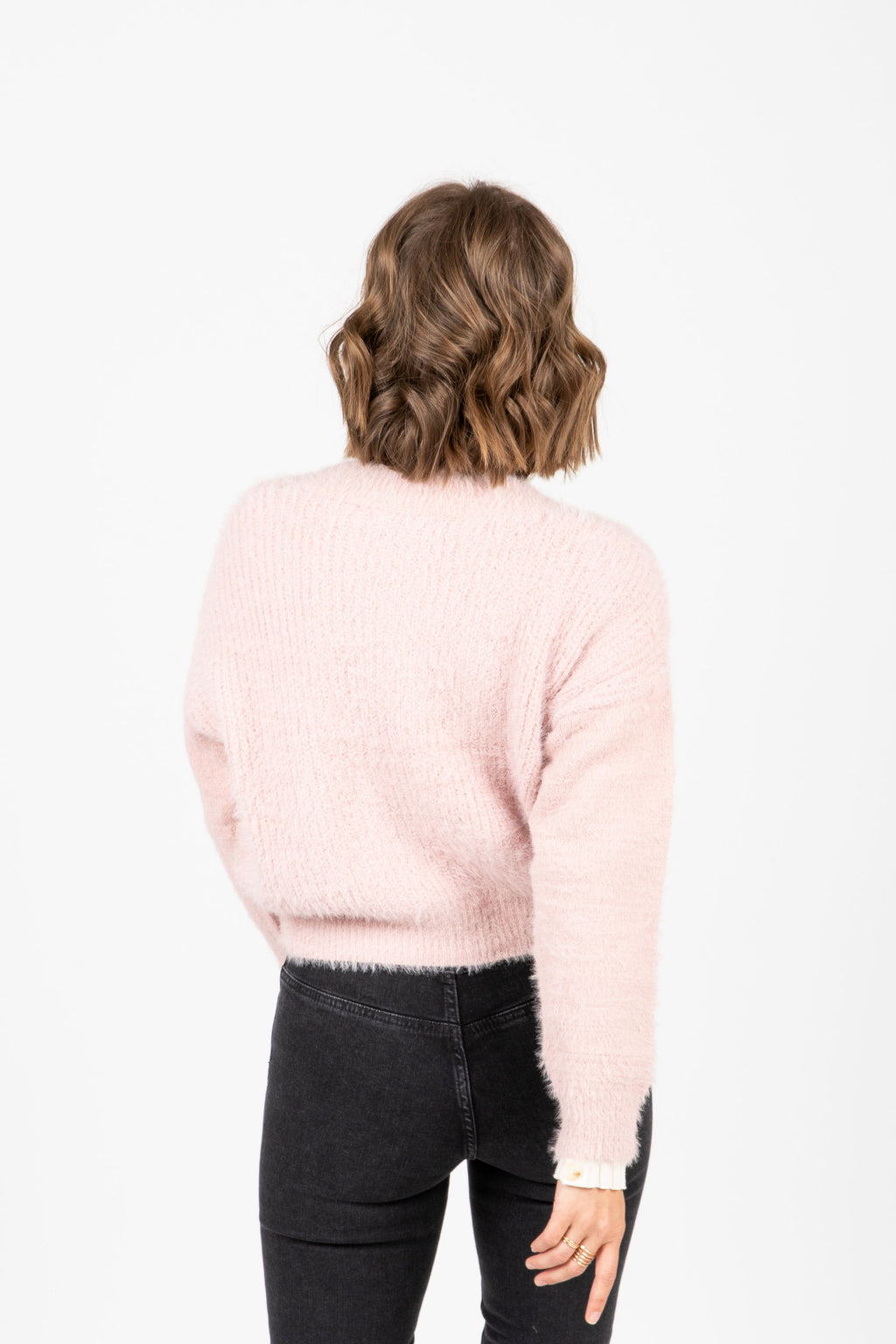 The Yardley Cozy Button Cardigan in Blush, studio shoot; back view