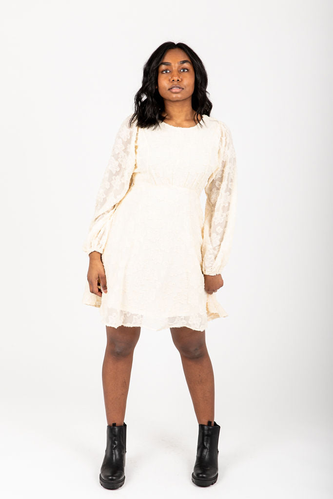 The Kallie Floral Detail Dress in Cream, studio shoot; front view