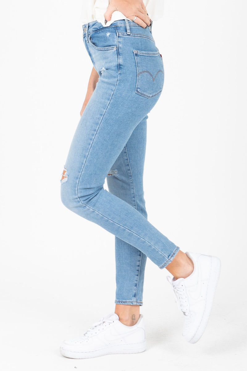 Levi's: 721 High Rise Ankle Skinny Jeans in Soho Azure Glow, studio shoot; side view