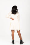 The Kallie Floral Detail Dress in Cream, studio shoot; back view