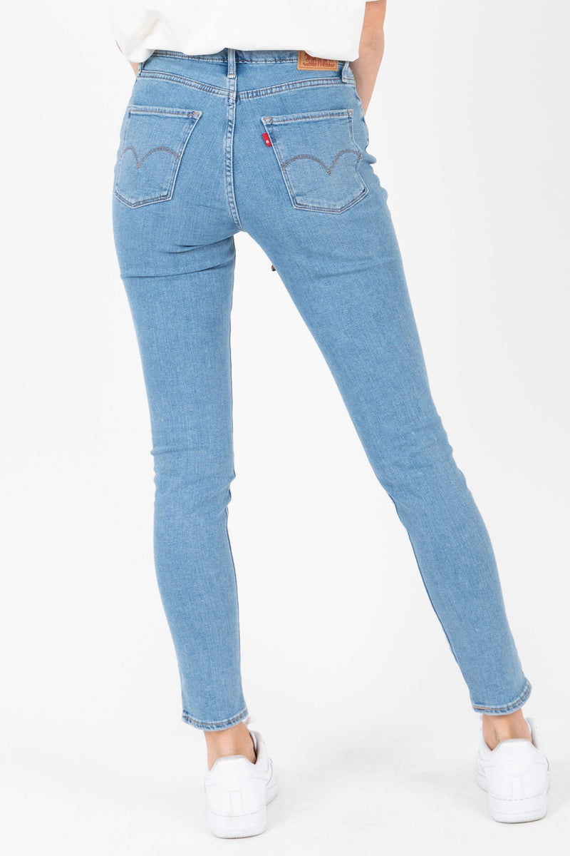 Levi's: 721 High Rise Ankle Skinny Jeans in Soho Azure Glow, studio shoot; back view