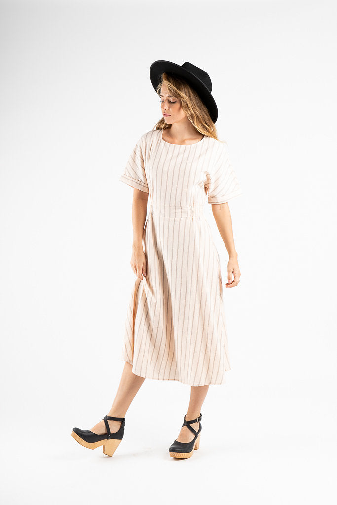 The Scranton Pinstripe Midi Dress in Light Blush