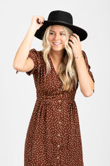 The Landfall Dot Dress in Cinnamon