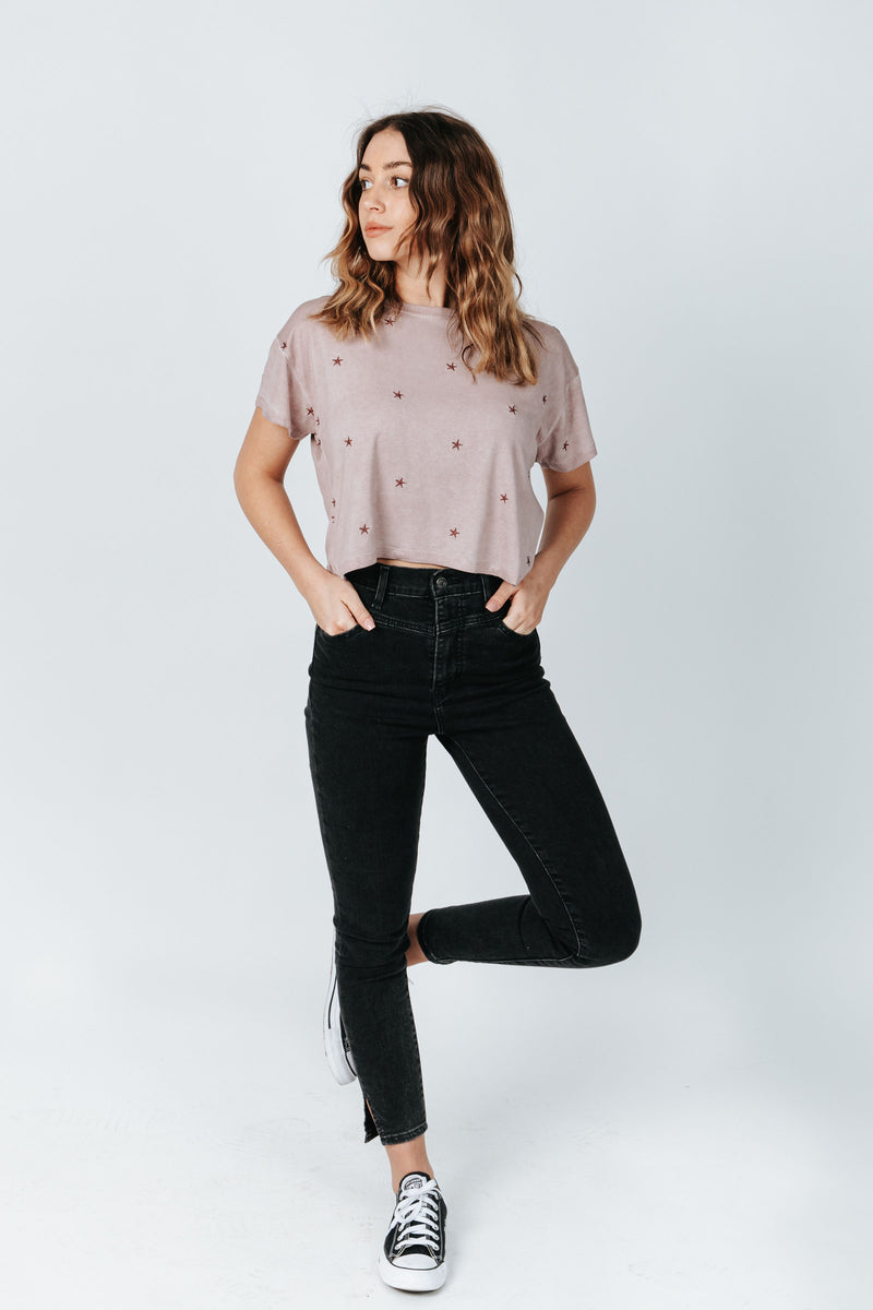 The Harold Star Cropped Tee in Dusty Mauve, studio shoot; front view