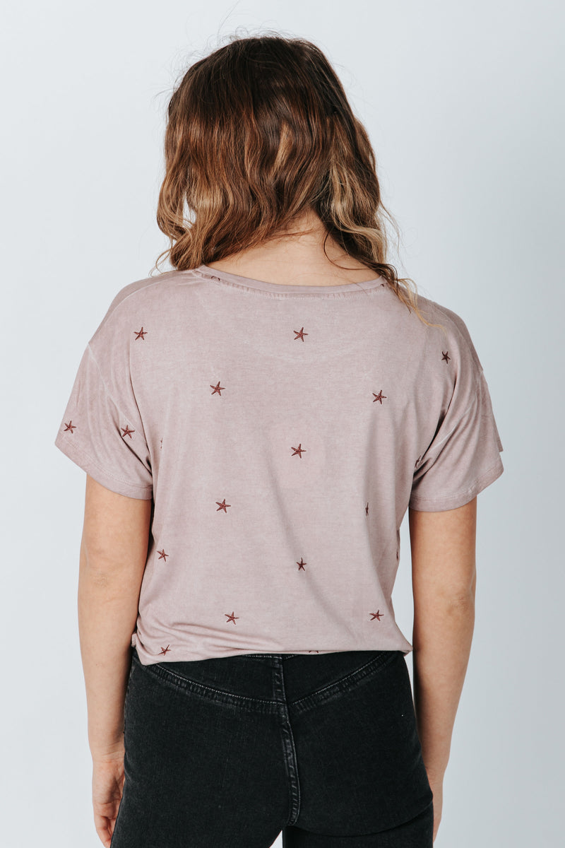 The Harold Star Cropped Tee in Dusty Mauve, studio shoot; back view