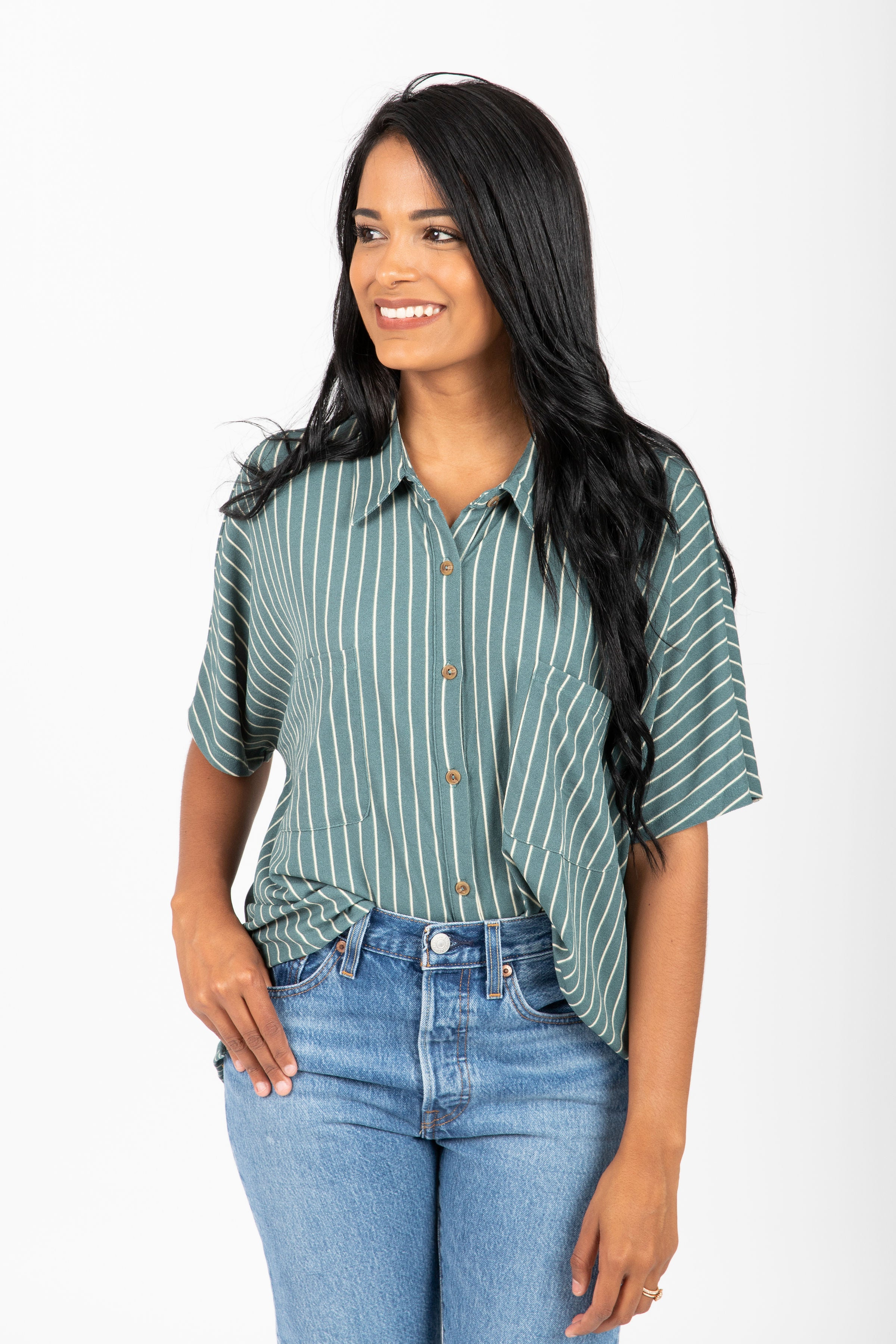 The Heyland Striped Button Up Blouse in Forest