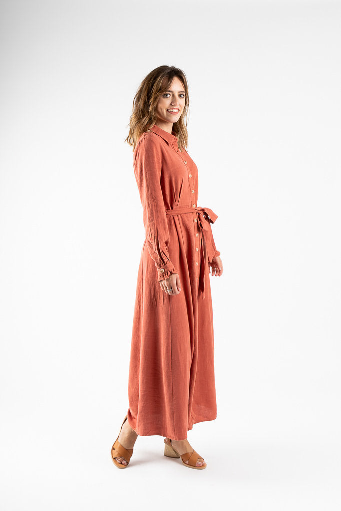 The Rowley Button Maxi Dress in Light Rust