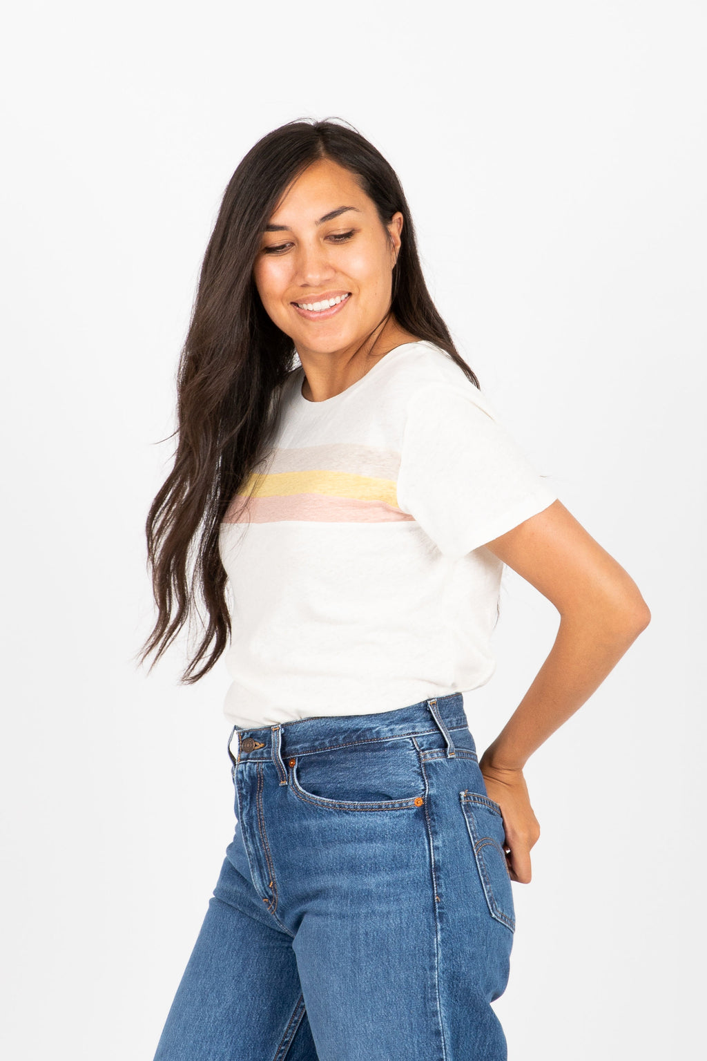 The Bezel Striped Tee in White