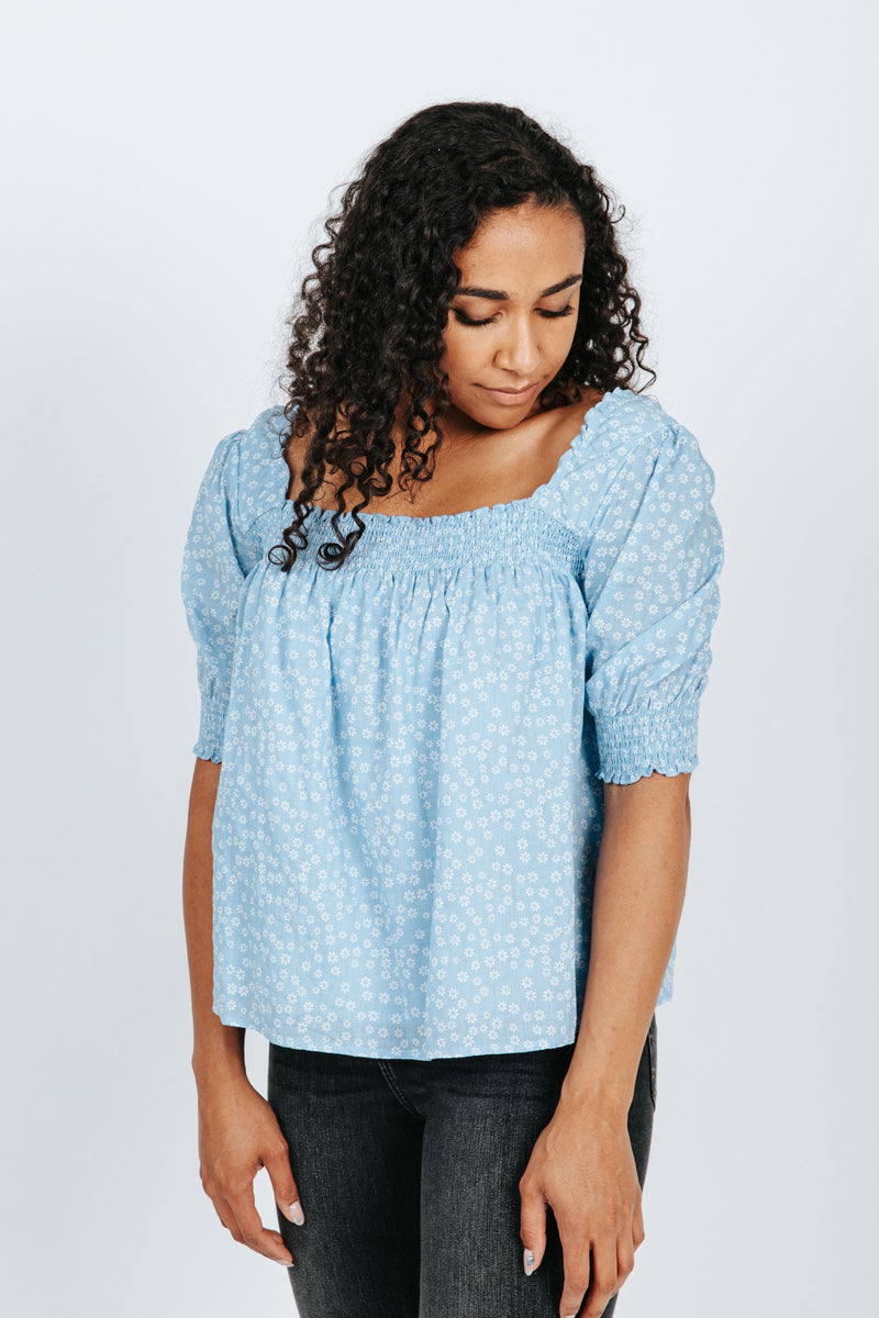 The Sophie Smocked Floral Blouse in Sky Blue