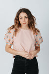 The Eddie Ribbed Blouse in Pink, studio shoot; front view