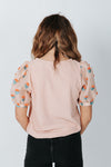 The Eddie Ribbed Blouse in Pink, studio shoot; back view