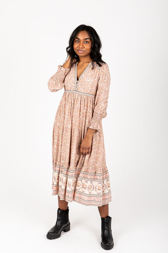 The Sintay Patterned Dress in Dusty Pink, studio shoot; front view
