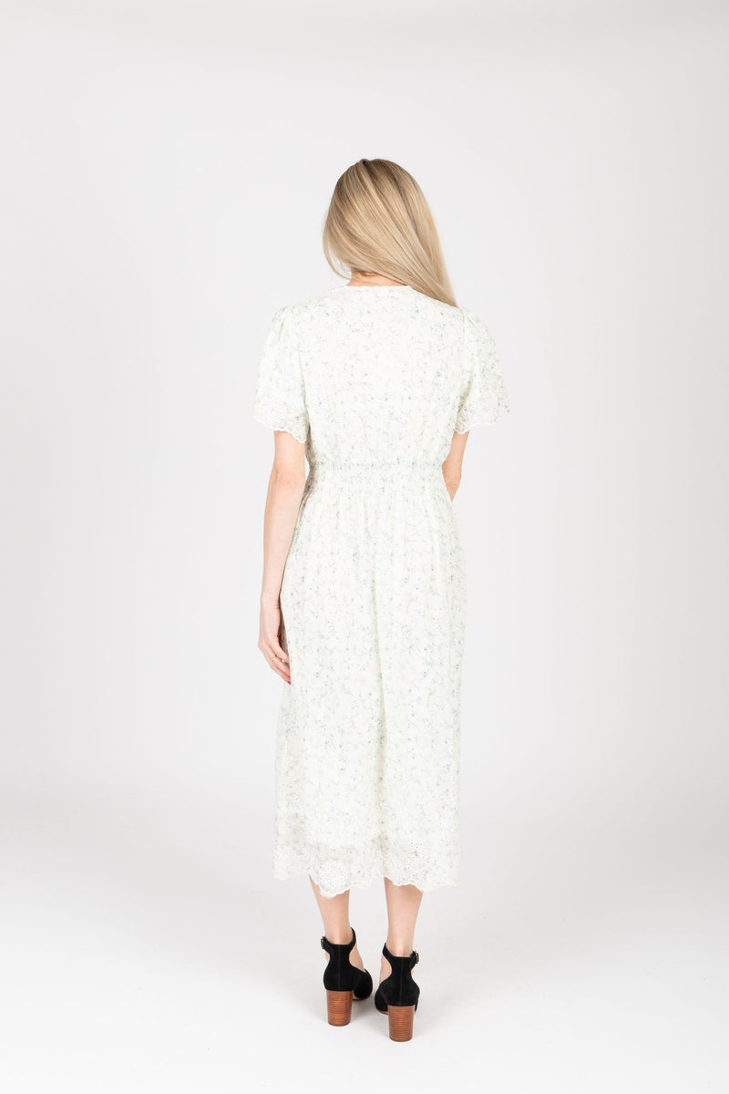 The Givell Floral Detail Dress in Ivory, studio shoot; back view
