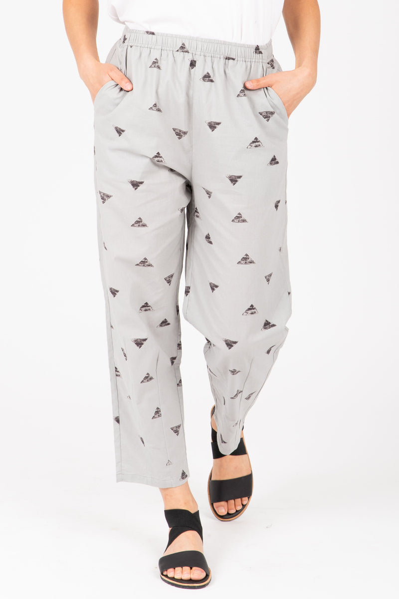 The Bowie Triangle Jogger Trouser in Light Grey, studio shoot; front view