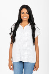 The Reagan Dot Button Up Blouse in White