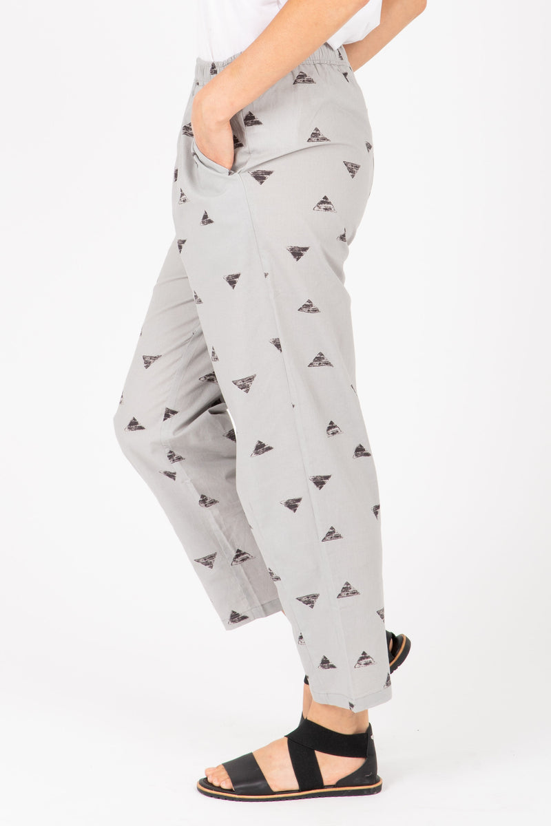 The Bowie Triangle Jogger Trouser in Light Grey, studio shoot; side view