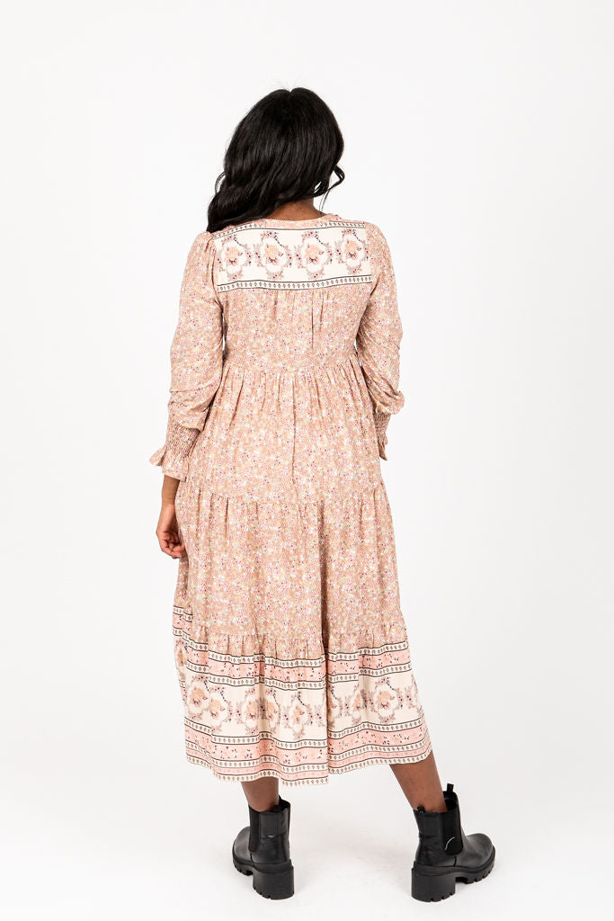 The Sintay Patterned Dress in Dusty Pink, studio shoot; back view