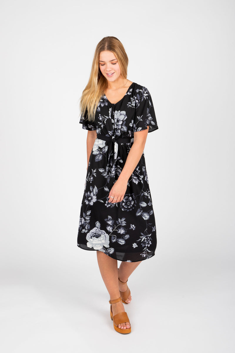 Piper & Scoot: The Madison Floral Empire Dress in Black