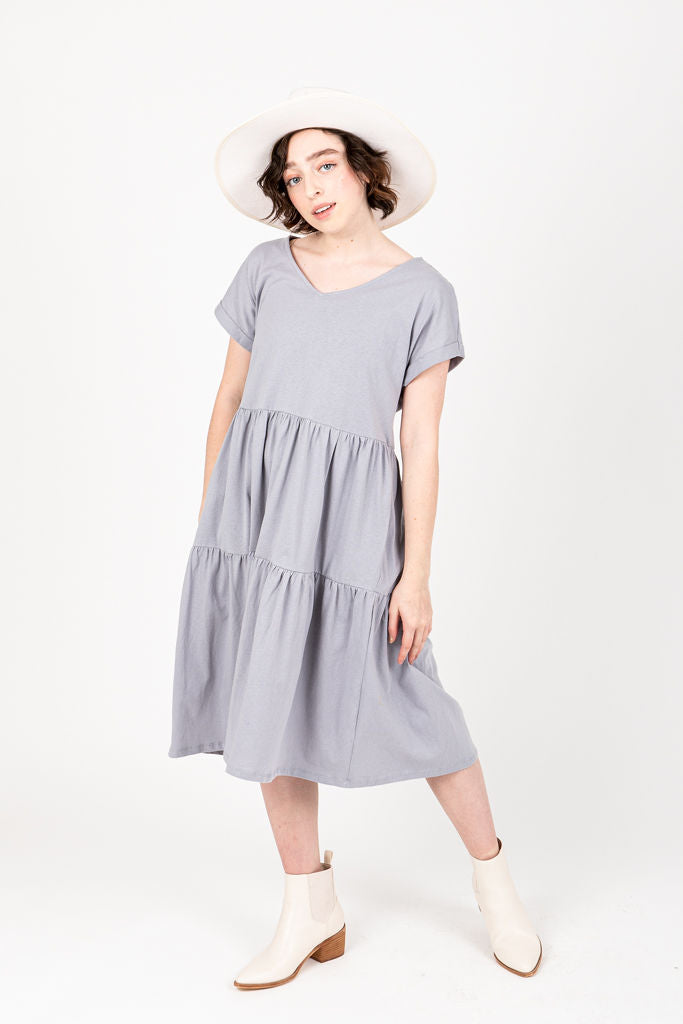 The Wilson Casual Dress in Blue, studio shoot; front view