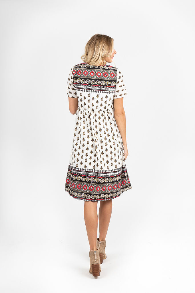 The Brighton Paisley Patterned Dress in Ivory