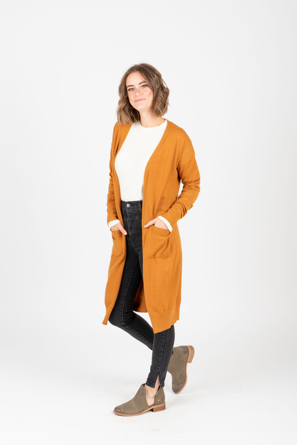 The Maeve Casual Long Cardigan in Camel, studio shoot; front view