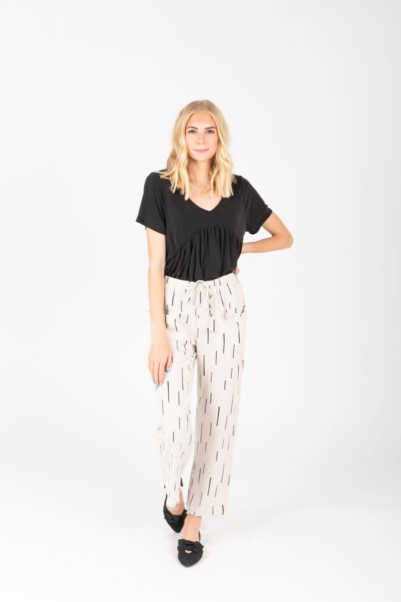 The Gwyneth Dash Trouser in Natural, studio shoot; front view