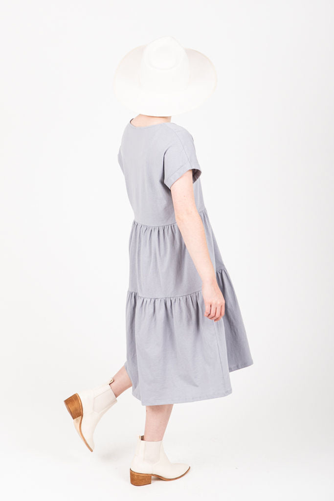 The Wilson Casual Dress in Blue, studio shoot; side  view