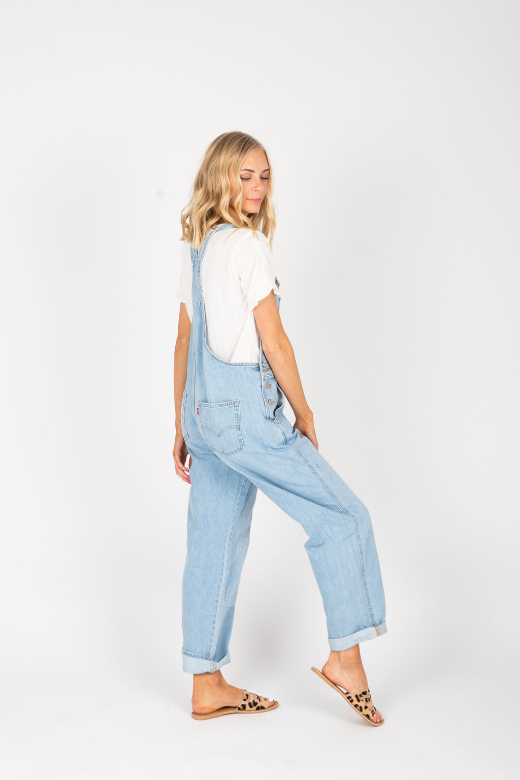 Levi's: Vintage Overalls in Throw Back Medium Wash, studio shoot; back view