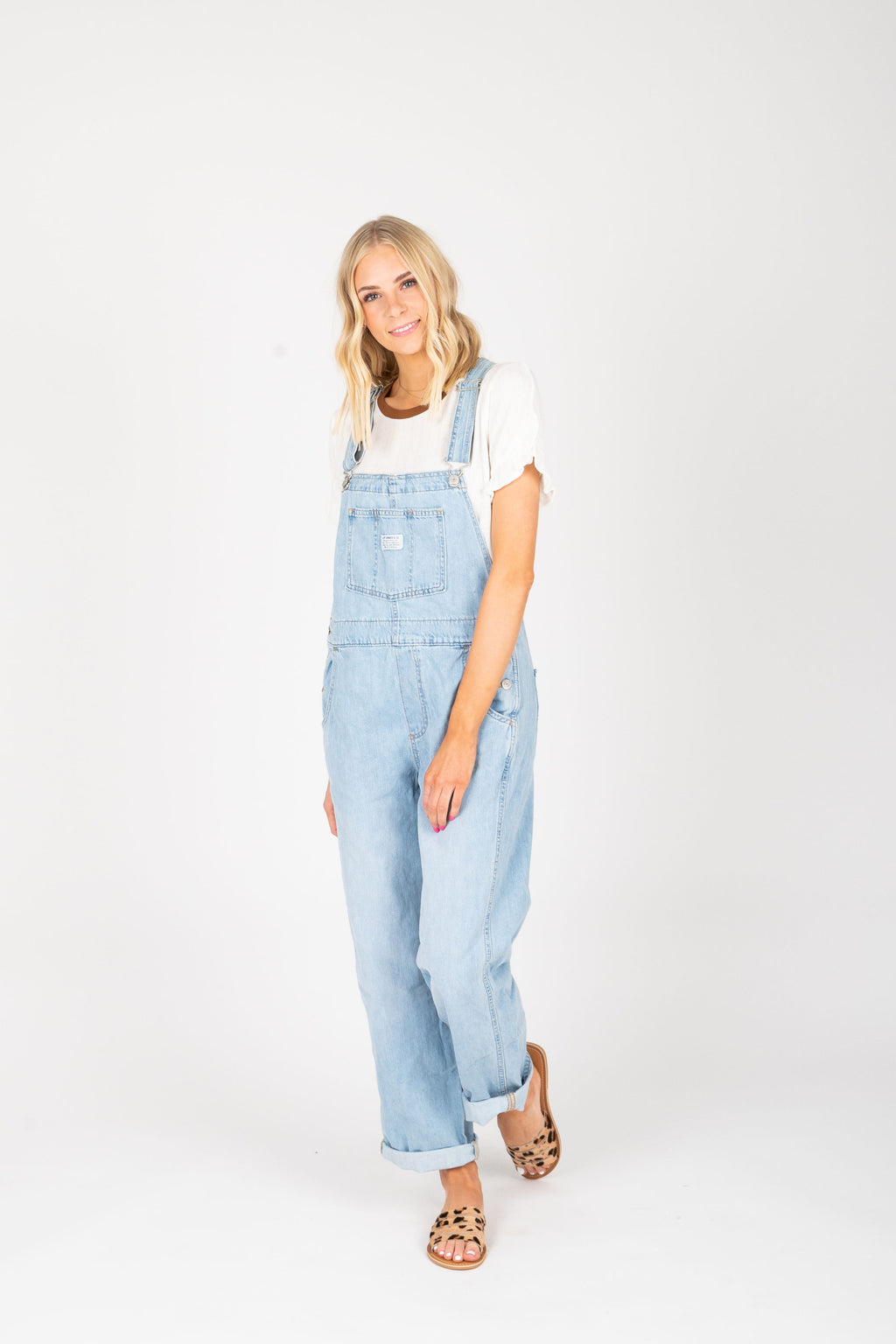 Levi's: Vintage Overalls in Throw Back Medium Wash, studio shoot; front view