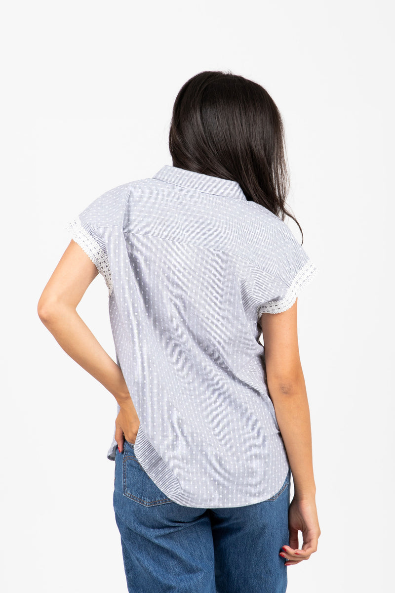 The Diane Striped Dot Button Down in Grey