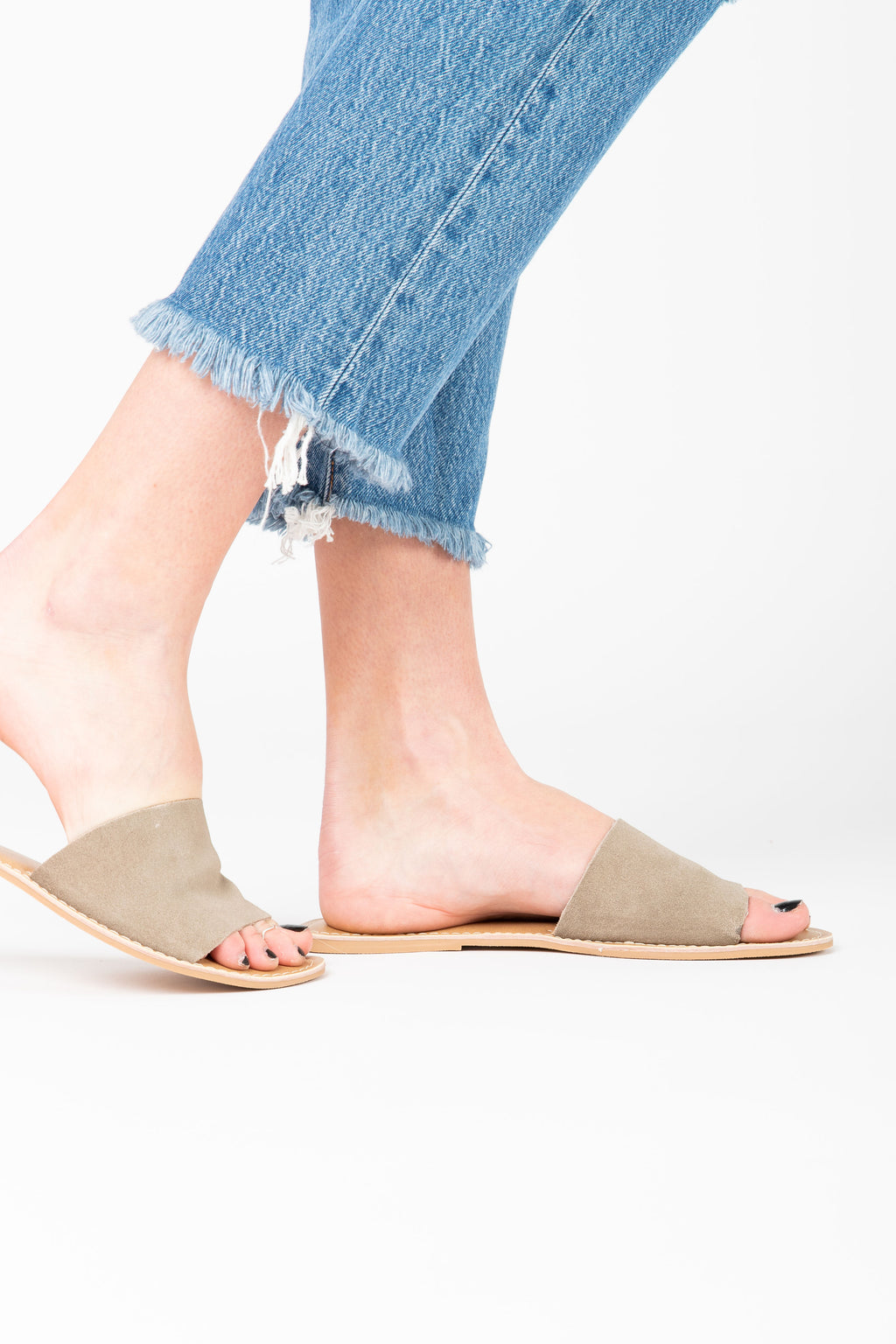 Coconuts by Matisse: Cabana Suede Slide Sandal in Grey