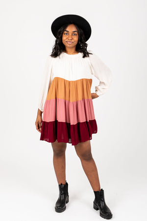 The Rowland Colorblock Dress, studio shoot; front view
