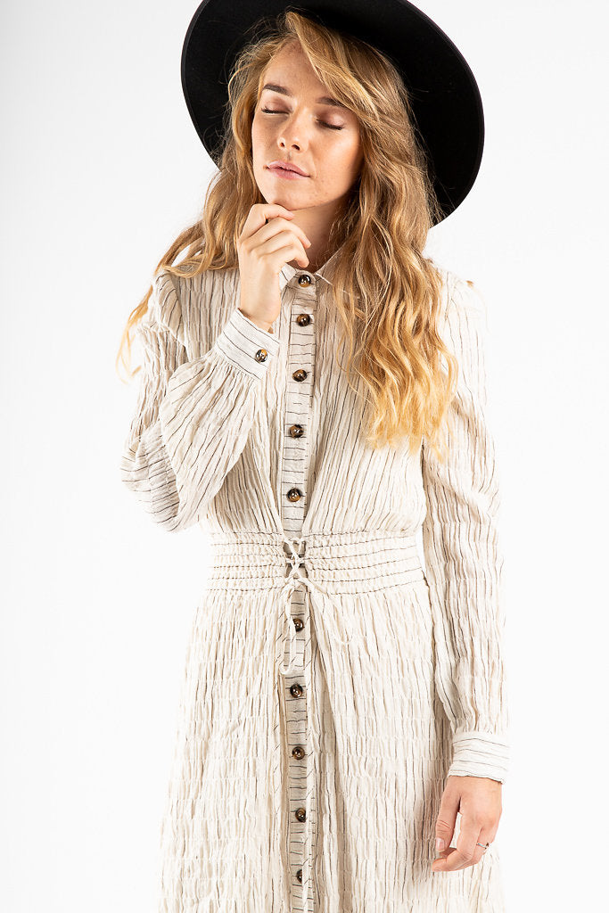 The Wayland Striped Button Up Dress in Ivory