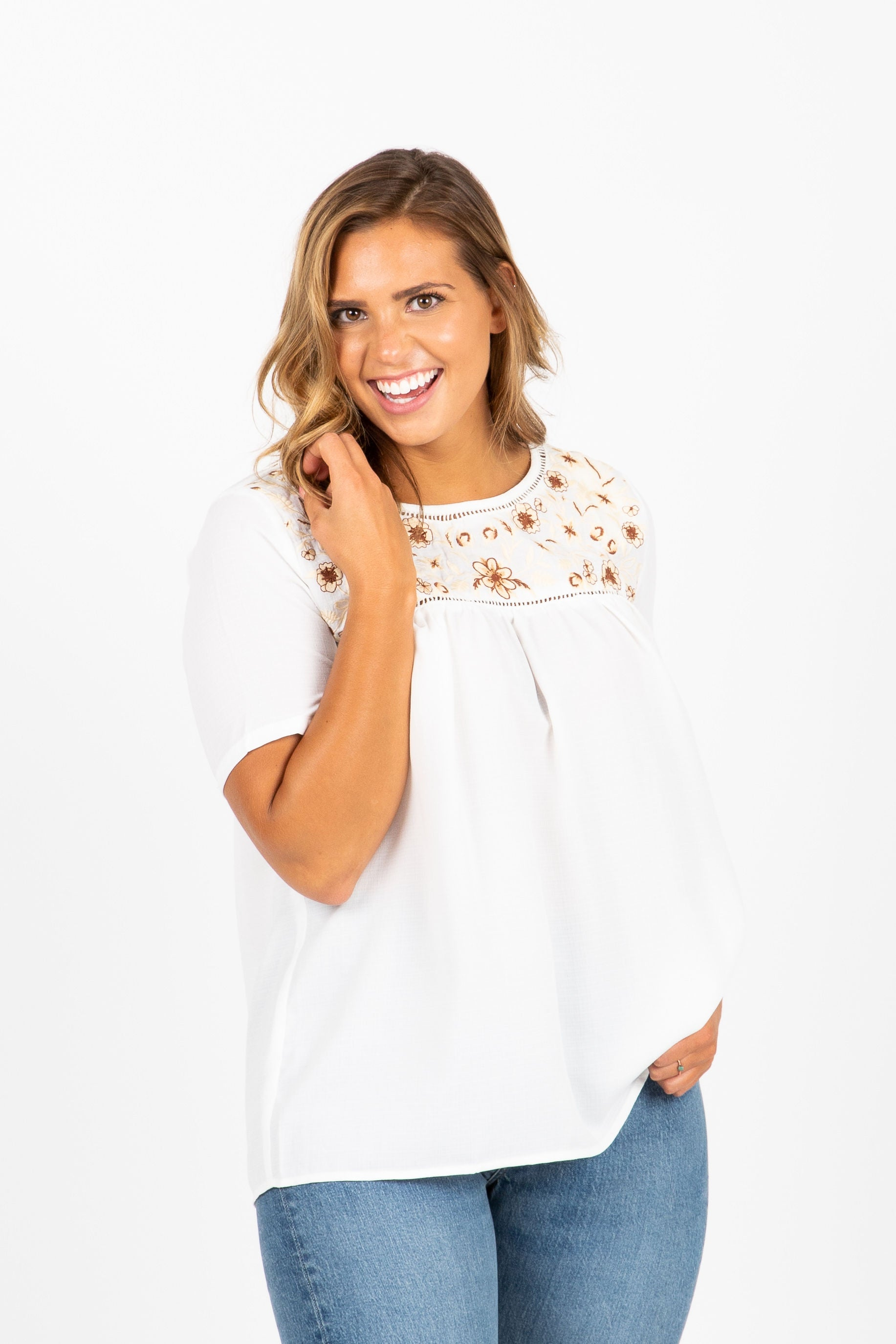 The Spoken Embroidered Empire Blouse in White
