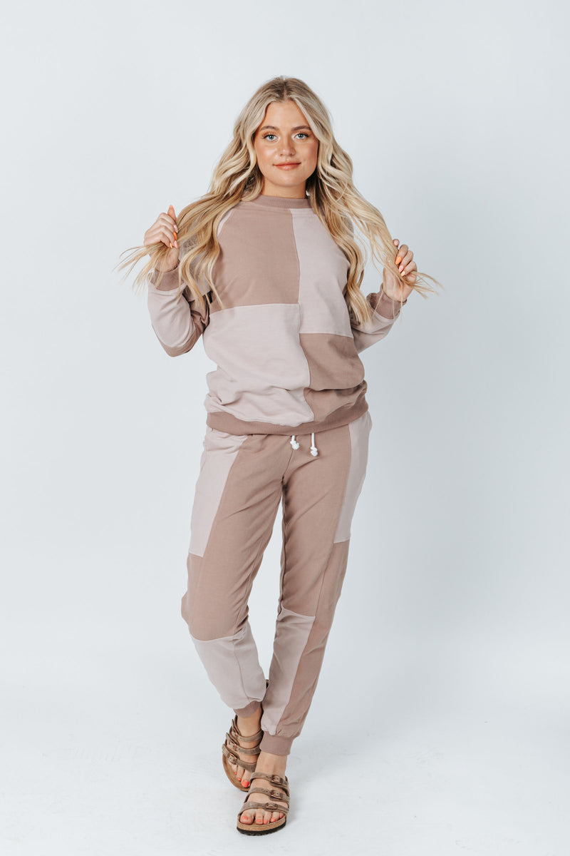 The Smith Colorblock Jogger in Mauve, studio shoot; front view