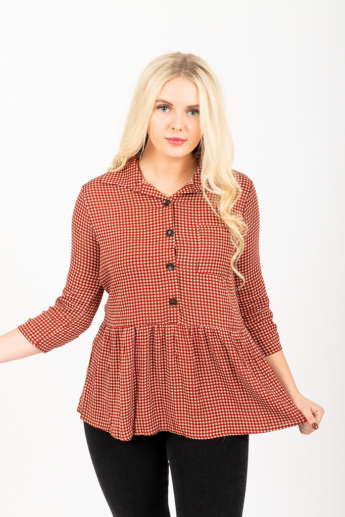 The Mindy Gingham Button Peplum in Brick