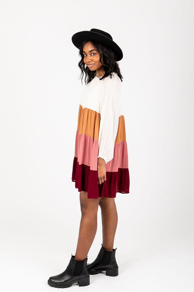 The Rowland Colorblock Dress, studio shoot; side view