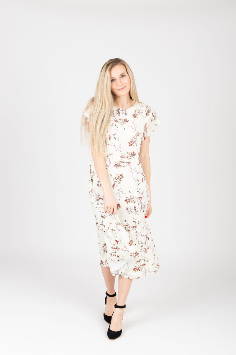 Piper & Scoot: The Mildred Floral Empire Dress in Cream, studio shoot; front view